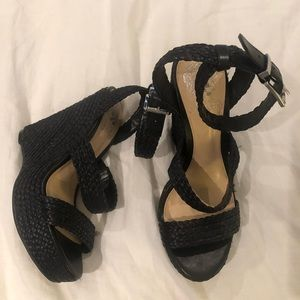 Vince Camuto rafia black woven wedges